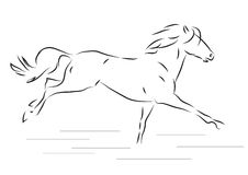 Sketch of silhouette of galloping horse - vector illustration. Sketch of silhouette of galloping horse Royalty Free Stock Photos