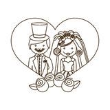 sketch silhouette heart with cartoon married couple and crown roses Stock Photography