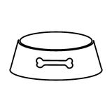 Sketch silhouette pet bowl with bone symbol Stock Photography