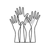 sketch silhouette set hands raised icon Royalty Free Stock Photo