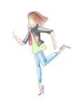Sketch of silhouette of young teen girl in jeans and high heels drawn by watercolor Stock Image
