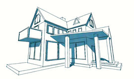 Sketch of simple house. Hand-drawn sketch of simple abstract house on the white background Stock Image