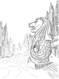 Sketch of Singapore Tourism Landmark - Merlion Royalty Free Stock Image