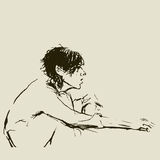 Sketch. Sitting girl Stock Images