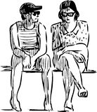 Sketch of the sitting people Stock Photo