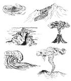 Sketch of six natural disasters Royalty Free Stock Photography