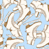 Sketch skating shoes in vintage style. Vector seamless pattern Royalty Free Stock Image