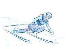 Sketch of the skier Royalty Free Stock Photos