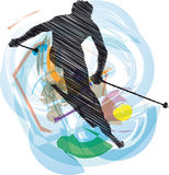 Sketch of Skiing Stock Photography