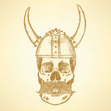 Sketch skull in viking helmet Stock Photo