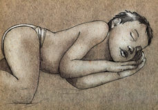 Sketch of a sleeping child. Pencil drawn sketch of a sleeping little boy with his palms under his cheek Royalty Free Stock Image