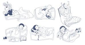 Sketch Sleeping Kids Set Stock Photo