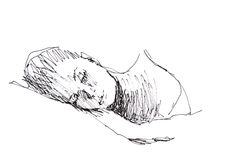 Sketch: sleeping woman Stock Photo