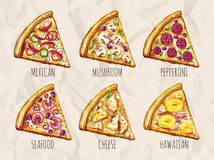 Sketch of slices of pizza Stock Images