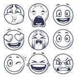 Sketch smiley. Smile expression icons, emoticons faces. Hand draw vector mood characters royalty free illustration
