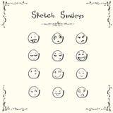 Sketch Smileys Faces Emotion Concept Set Collection Stock Image