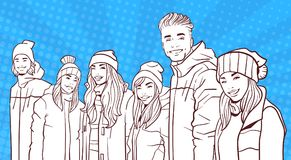 Sketch Smiling Group Of Young People Wear Winter Coats And Hats Over Colorful Retro Style Background. Vector Illustration Royalty Free Stock Photo
