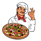Sketch of smiling Italian chef holding pizza in his hand. Smiling Italian chef holding pizza in his hand, sketch style vector illustration  on white background Royalty Free Stock Images