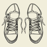 Sketch sneakers illustration. Stock Photography