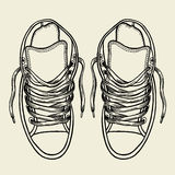 Sketch sneakers illustration. Royalty Free Stock Photo