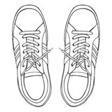 Sketch of the sneakers. Vector illustration sketch stock illustration