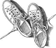 Sketch of the sneakers Stock Image