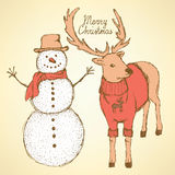 Sketch snowman and rain deer Royalty Free Stock Images