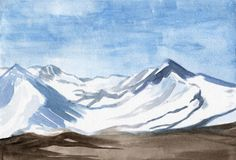 A sketch of a Snowy hills scenic landscape - Mountains in a snow, watercolor hand-drawn illustration vector illustration