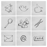 Sketch social network icons Royalty Free Stock Photos