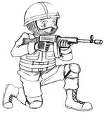 A sketch of a soldier with a gun Royalty Free Stock Images