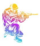 Sketch Soldier Royalty Free Stock Photography