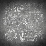 Sketch of some ideas. Conceptual sketched image of light bulb and ideas on concrete wall royalty free stock photos