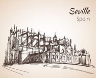 Sketch of spain city Seville. The Cathedral of Saint Mary of the Stock Photo