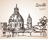 Sketch of spain city Seville. Royalty Free Stock Image