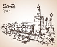 Sketch of spain city Seville. Torre del Oro Stock Photo