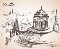 Sketch of spain city Seville. Torre Giralda Stock Image