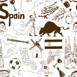Sketch Spain seamless pattern stock illustration