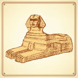 Sketch Sphinx monument in vintage style Stock Photography