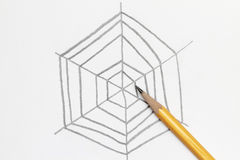Sketch of spider web Royalty Free Stock Photography
