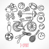 Sketch sport equipment Royalty Free Stock Photography