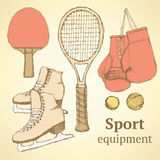 Sketch sport equipment in vintage style Stock Image