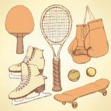 Sketch sport equipment Stock Images