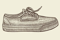 Sketch of sport shoes. Hand drawn sketch of sport shoes, sneakers for summer. Vector stock illustration. Sport wear for men and women royalty free illustration