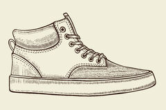 Sketch of sport shoes. Hand drawn sketch of sport shoes, sneakers for summer. Vector stock illustration. Sport wear for men and women stock illustration
