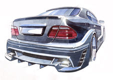 Sketch of a sports car rear view. Illustration. Stock Photos