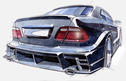 Sketch of a sports car rear view. Illustration. Stock Image