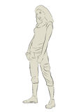 Sketch of Sporty Girl Silhouette. For designers Stock Photos