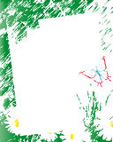 Sketch spring. Abstract sketch of a frame with daisies and butterfly Royalty Free Stock Photos