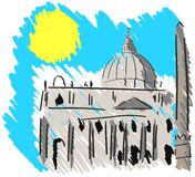Sketch of St Peter's Square in Rome Royalty Free Stock Images