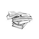 Sketch of a stack  books Stock Photography